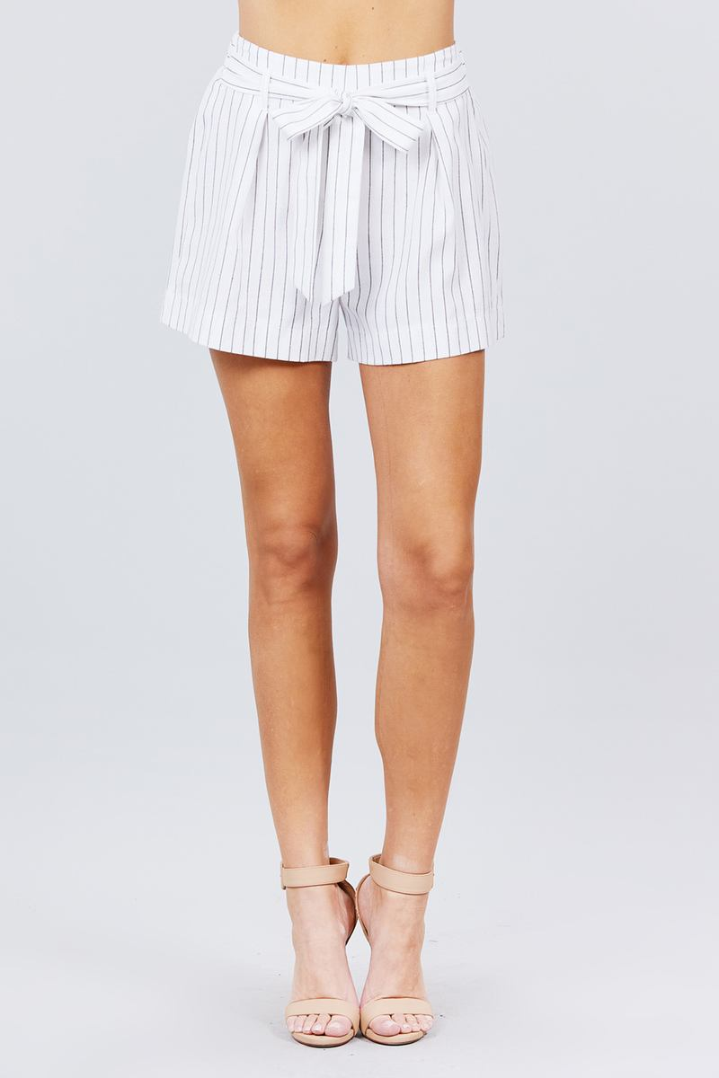Waist Bow Tie Y/d Stripe Short Pants