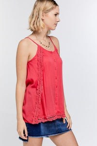 Boho Scallop Lace Trim Detailed Button Down Solid Subtle Textured Slit Side Overlay Layered Cami Top