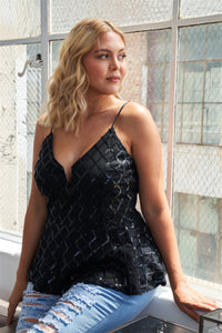 Plus Size Black Sleeveless Sequin V-neck Peplum Top