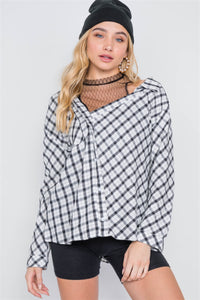 White Black Plaid Asymmetrical Front Button Down Top