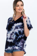 Load image into Gallery viewer, Tie-dye Top Featured In A V-neckline And Cuff Sort Sleeves