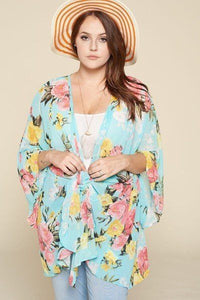 Plus Size Floral Printed Oversize Flowy And Airy Kimono With Dramatic Bell Sleeves