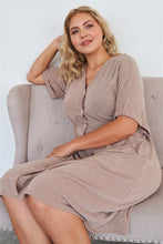 Load image into Gallery viewer, Comfy Mocha Fleece Short Sleeve Knee Length Button Up Dress
