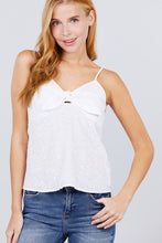Load image into Gallery viewer, V-neck w/front bow tie eyelet woven cami top
