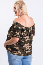 Load image into Gallery viewer, Camo Print Cool Off Shoulder Top