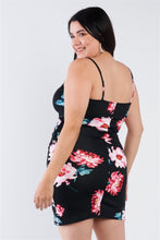 Load image into Gallery viewer, Plus Size Floral Print V-neck Cinched Size Chic Mini Dress