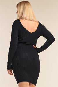 Plus Size V-neck Long Sleeve Ribbed Sweater Bodycon Mini Dress