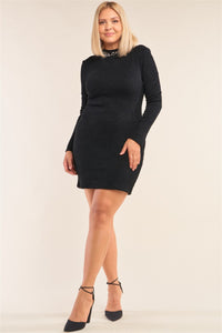Plus Size Long Sleeve Ribbed Knit Sexy Cut Out Back Mini Dress