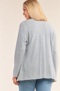 Plus Size Heather Grey Knit Open Front Long Sleeve Asymmetrical Pleated Collar Hem Cardigan