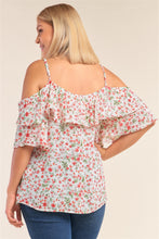 Load image into Gallery viewer, Plus Size Floral Print Relaxed Fit Mini Sleeve Off-the-shoulder Flared Hem Top