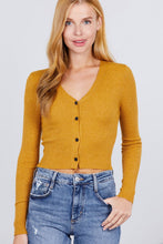 Load image into Gallery viewer, Long Sleeve V-neck W/button Down Crop Cardigan