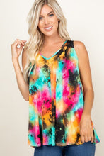 Load image into Gallery viewer, Tie Dye Sleeveless V Neck Swing Tunic Top