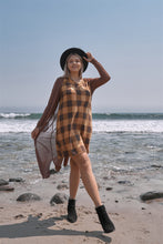 Load image into Gallery viewer, Plus Size Checkered Round Neck Short Sleeve Sweater Mini Dress