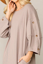 Load image into Gallery viewer, Textured Button Accent Puff Sleeve Side Pockets Shift Dress