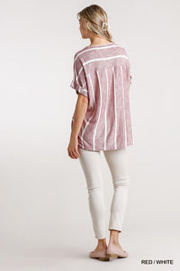 Horizontal And Vertical Striped Short Folded Sleeve Top With High Low Hem