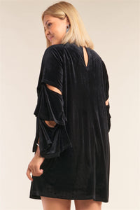 Plus Size Juliet Black Velvet Relaxed Fit Cut-out Detail Layered Long Sleeve Mini Dress