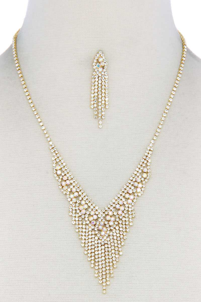 V Shape Dangle Rhinestone Necklace