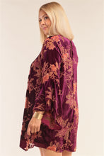 Load image into Gallery viewer, Plus Size Velvet Floral Pattern Long Angel Sleeve Round Neck Relaxed Fit Mini Dress