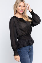 Load image into Gallery viewer, Smocked Ruffle Sleeve Lurex Blouse