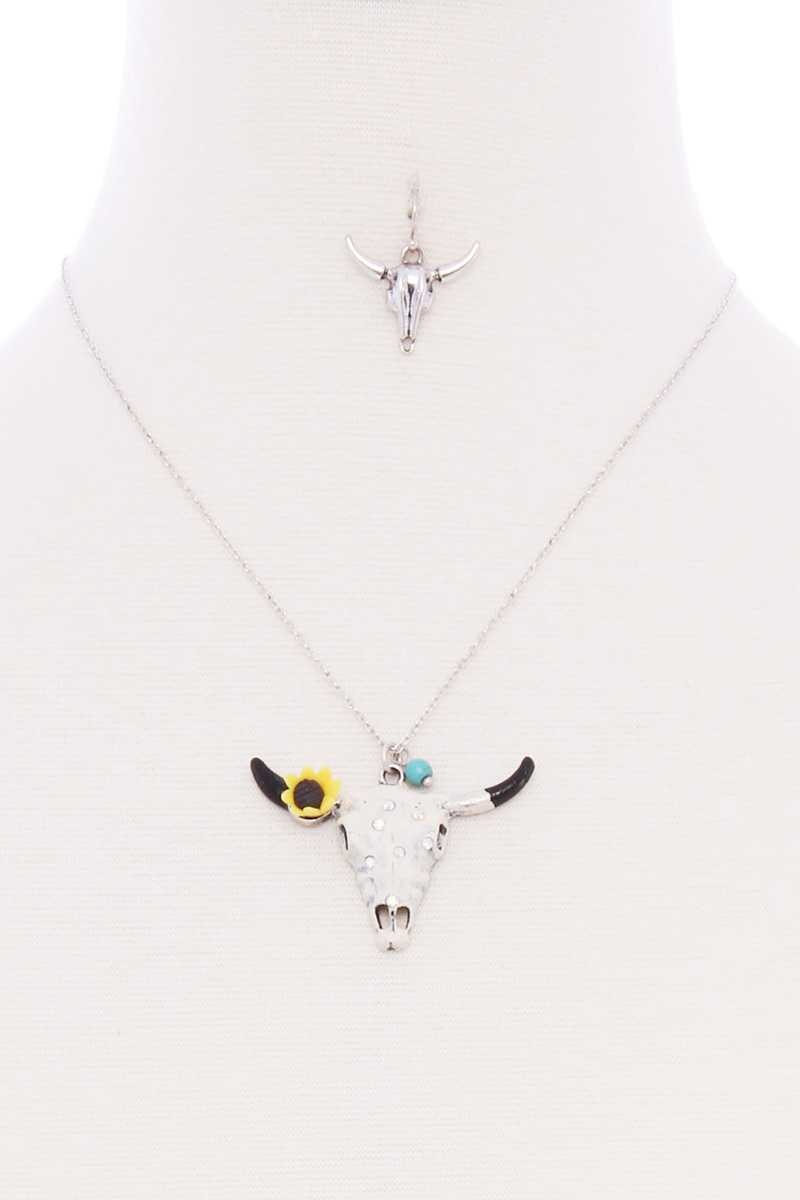 Cattle Skull Sunflower Pendant Necklace