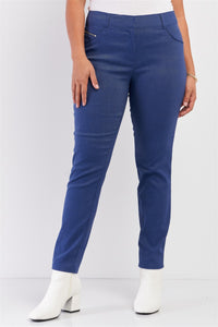 Plus Medium Blue Mid-rise Denim Legging Slim Fit Pants