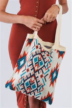 Load image into Gallery viewer, Tribal Print Knit Boho Tote Bag