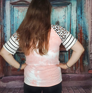 Tie-Dye Leopard Striped Blouse