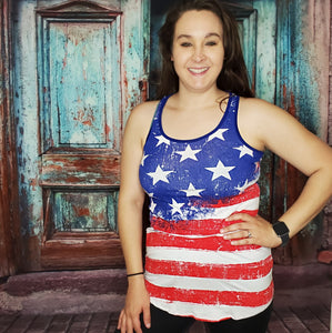 Red White and Blue Racerback Tank Top