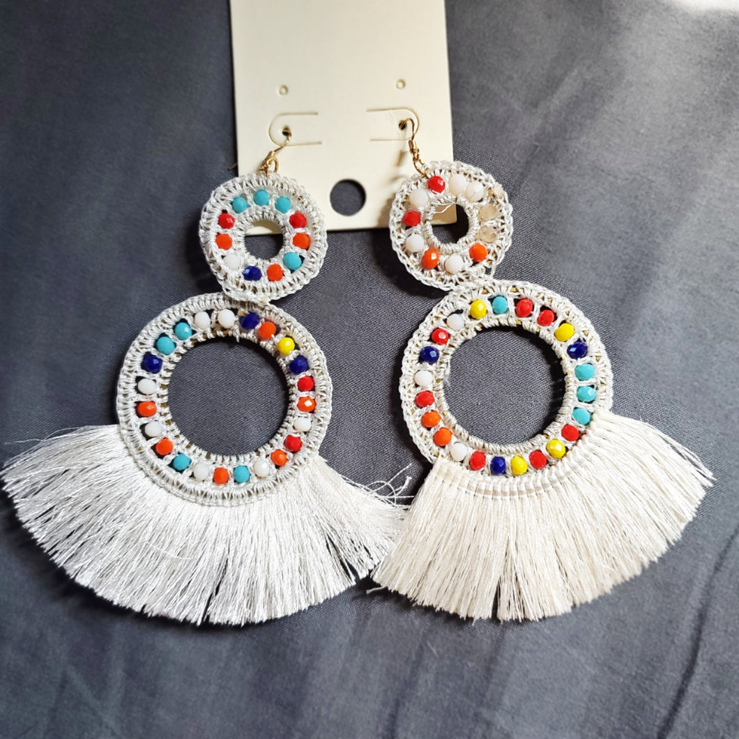 Two Ring Tassel Earrings
