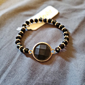 Modnight Black Gem Beaded Bracelet