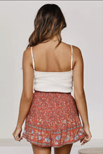 Load image into Gallery viewer, Red Summer Boho Floal Print A-line Elastic Waist Shorts