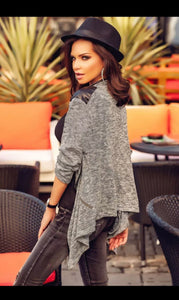 Faux Leather Shoulder Patch Asymmetrical Cardigan