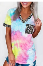 Load image into Gallery viewer, Tie-Dye Leopard Top Sky Blue 221