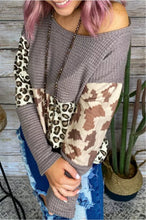 Load image into Gallery viewer, Leopard Printed Waffle fabric Blouse