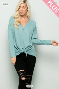 Mint Pullover Top with Front Tie