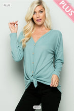Load image into Gallery viewer, Mint Pullover Top with Front Tie