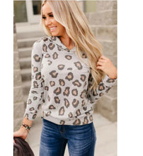 Load image into Gallery viewer, Gray Leopard Print Hoodie