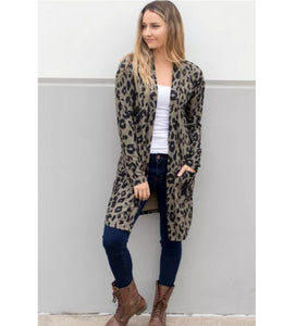Leopard Print Pocketed Cardigan