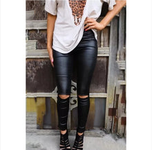 Load image into Gallery viewer, Black Skinny Faux Leather Leggings