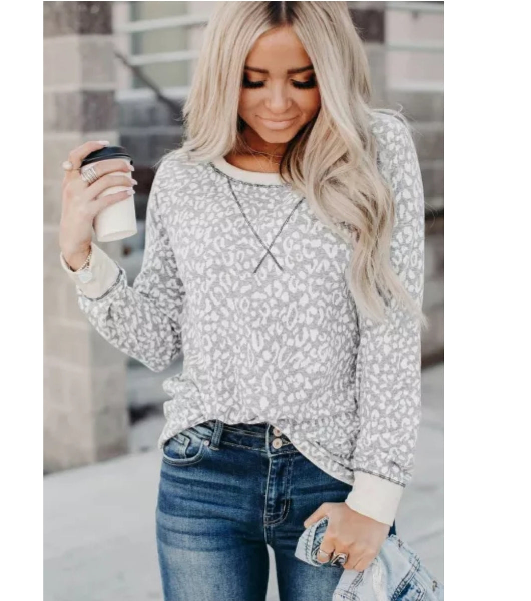 Gray Leopard Print Top