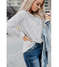 Load image into Gallery viewer, Gray Leopard Print Top