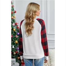 Load image into Gallery viewer, Buffalo Plaid Long Sleeve White Sweatshirt