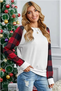 Buffalo Plaid Long Sleeve White Sweatshirt