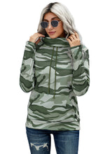 Load image into Gallery viewer, Army Green Camo Cowl Neck Sweatshirt
