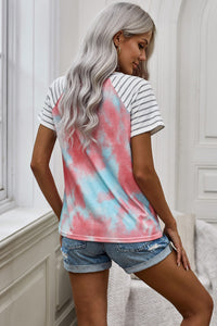 Tie Dye Leopard Striped Splicing Pocket T-shirt