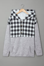 Load image into Gallery viewer, Plaid Splicing Pocketed Hoodie