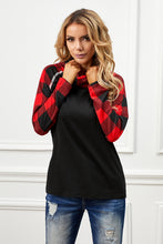 Load image into Gallery viewer, Cowl Neck Plaid Splice Casual Long Sleeve Top