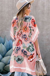 Waterfall Short Sleeve Floral Print Cardigan