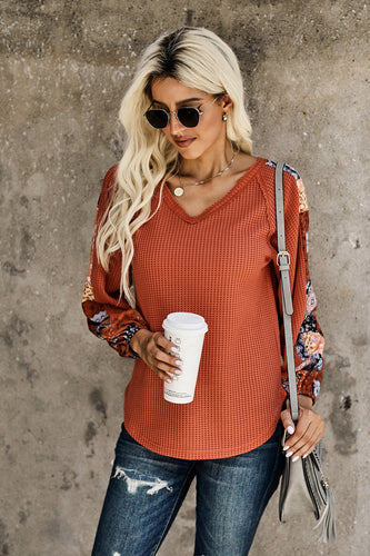 Contrast Eyelet Thermal Knit Top