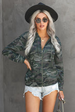 Load image into Gallery viewer, Camo Print Zip Up Hooded Jacket